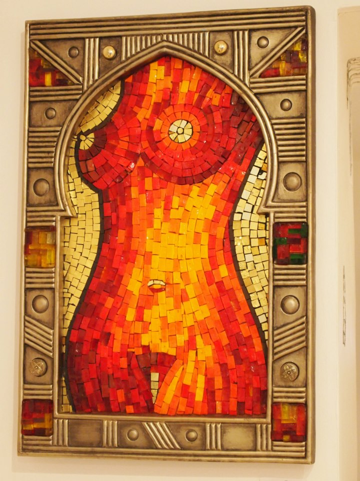 nude, orsoni, glass, mosaic, breasts, art, banned, gold, melanie watts, milton keynes, W3 gallery, London, England, bespoke