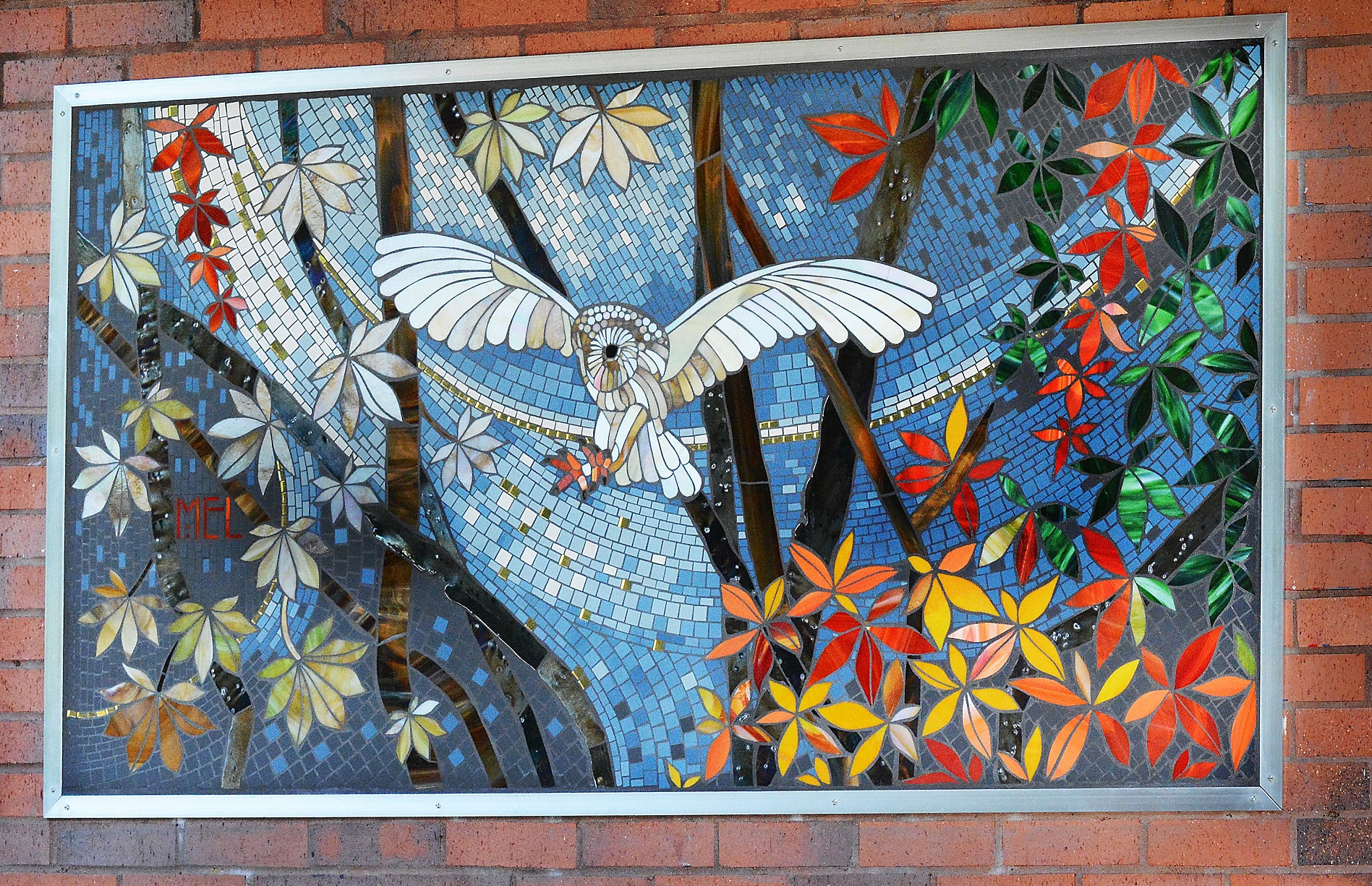 Barn owl, Milton Keynes, mosaic, MelanieMosaics, Grand Union Canal, virginia creeper, protected